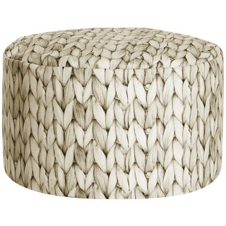Sitting Point Velvet Dotcom Basket Taupe Pouf