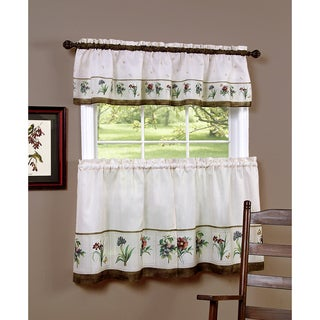 Botanical Multicolored Polyester Printed Tier and Valance set