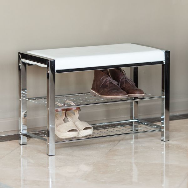 Shop Danya B White Leatherette Storage Entryway Bench With Chrome