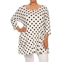 MOA Collection Women's Black/White Plus-size Polka-dotted Top