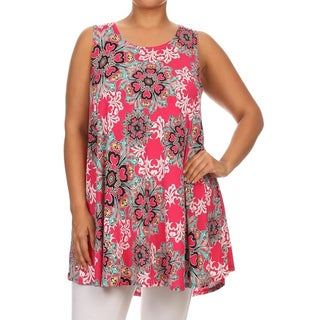 MOA Collection Women's Plus-size Multicolored Polyester/Spandex Ornate Tank Top