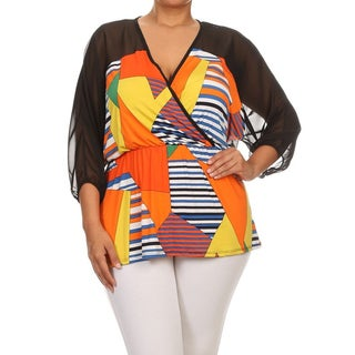 MOA Collection Women's Plus Suze Multicolor Abstract Top