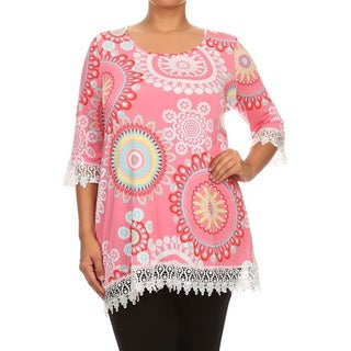 MOA Collection Women's Blue/Pink Polyester and Spandex Plus Size Abstract Floral Tunic