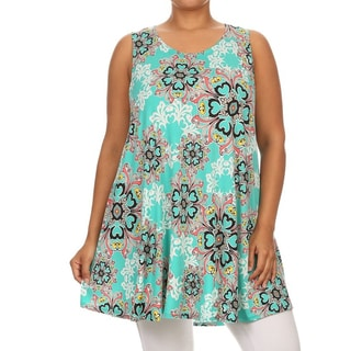 MOA Collection Women's Plus Size Abstract Floral Tank Top