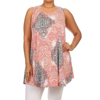 MOA Collection Women's Pink Polyester/Spandex Plus-size Paisley Tank Top