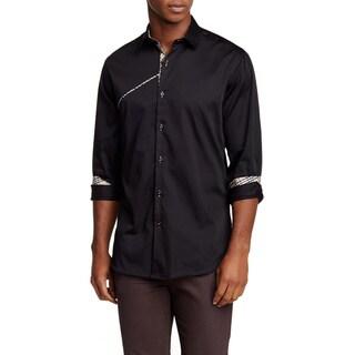 Banana Lemon Men's Tino Black Cotton Long Sleeve Solid Shirt with Brown Plaid Accents