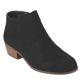 Qupid Women's Black Faux Suede Chunky Heel Ankle Booties