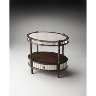 Handmade Butler Barrington Brown Wooden Mirrored Pecan Oval End Table (China)