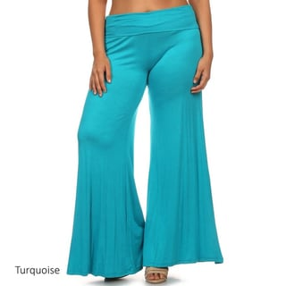 MOA Collection Women's Multicolor Rayon/Spandex Plus Size Solid Palazzo Pants