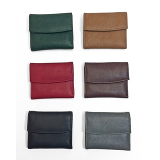 Moda Women's Multi-color Faux Leather Tri-fold Magnetic Snap Card Holder Wallet