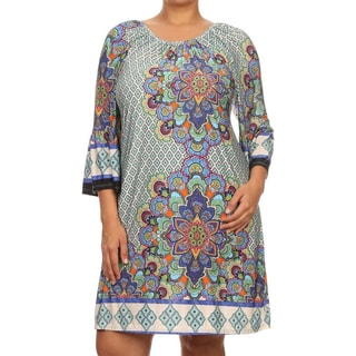 MOA Collection Women's Multi-color Polyester, Spandex Plus Size Boatneck Short Dress