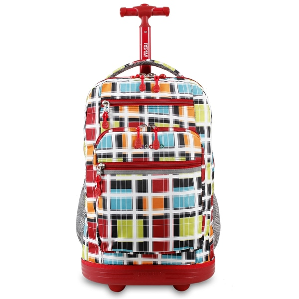 J World Sundance Color Stripe Rolling Laptop Backpack