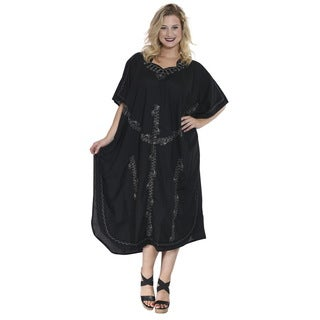 La Leela Women's Black Rayon Smooth Gentle Hand Embroidered Plus Size Nightwear Long Casual Beach Dress Loose Maxi Cover Up