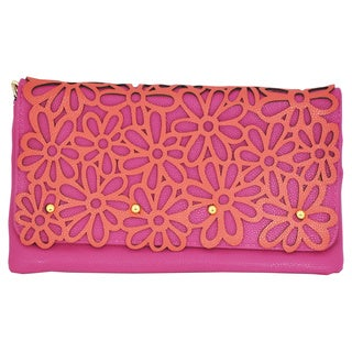 Moda Multicolored Faux-suede Hip Daisy Festival Stenciled Clutch with Chain Strap