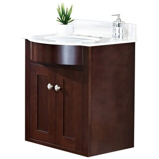 23-in. W x 20-in. D Transitional Wall Mount Cherry Wood-Veneer Vanity Base Only In Coffee