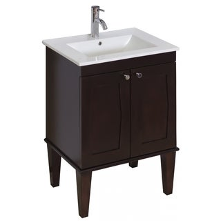 23-in. W x 18-in. D Transitional Birch Wood-Veneer Vanity Base Only In Antique Walnut