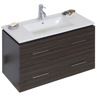 35-in. W x 17-in. D Modern Wall Mount Plywood-Melamine Vanity Base Only In Dawn Grey