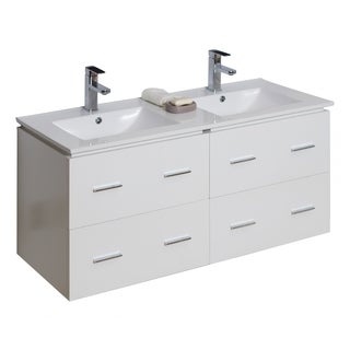 46-in. W x 17-in. D Modern Wall Mount Plywood-Veneer Vanity Base Only In White