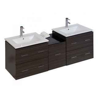 60-in. W x 17-in. D Modern Wall Mount Plywood-Melamine Vanity Base Only In Dawn Grey