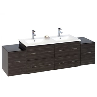 74-in. W x 17-in. D Modern Wall Mount Plywood-Melamine Vanity Base Only In Dawn Grey