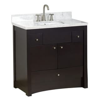 35-in. W x 17.5-in. D Transitional Birch Wood-Veneer Vanity Base Only In Distressed Antique Walnut