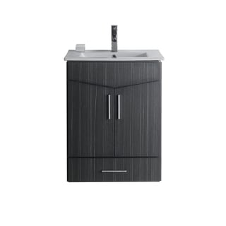 24-in. W x 17-in. D Modern Wall Mount Plywood-Melamine Vanity Base Only In Dawn Grey