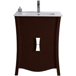23.54-in. W x 18.03-in. D Modern Birch Wood-Veneer Vanity Base Only In Coffee