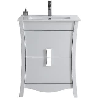 23.54-in. W x 18.03-in. D Modern Birch Wood-Veneer Vanity Base Only In White