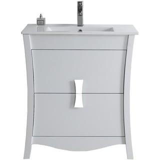 29.45-in. W x 18.03-in. D Modern Birch Wood-Veneer Vanity Base Only In White