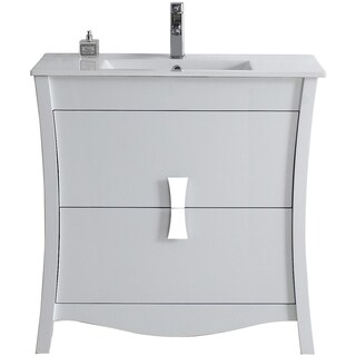35.35-in. W x 18.03-in. D Modern Birch Wood-Veneer Vanity Base Only In White