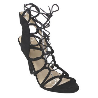 Qupid Women's FB86 Black Faux Suede Ankle-high Corset Lace-up Cut-out Gladiator Heel Sandals