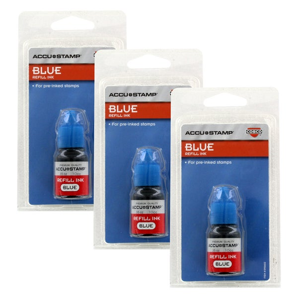 Cosco Accu Stamp Blue 0 35 Ounce Bottle Gel Ink Refill