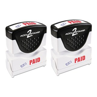 Cosco Accustamp2 Red/Blue PAID Shutter Stamp with Microban
