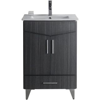 24-in. W x 17-in. D Modern Plywood-Melamine Vanity Base Set Only In Dawn Grey