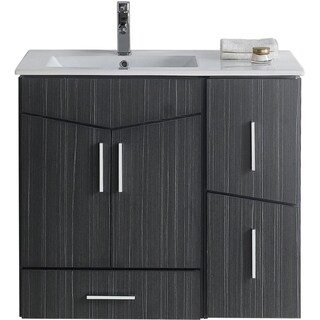 36-in. W x 17-in. D Modern Wall Mount Plywood-Melamine Vanity Base Set Only In Dawn Grey - 36 x 17