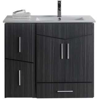 36-in. W x 17-in. D Modern Wall Mount Plywood-Melamine Vanity Base Set Only In Dawn Grey
