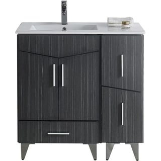 36-in. W x 17-in. D Modern Plywood-Melamine Vanity Base Set Only In Dawn Grey