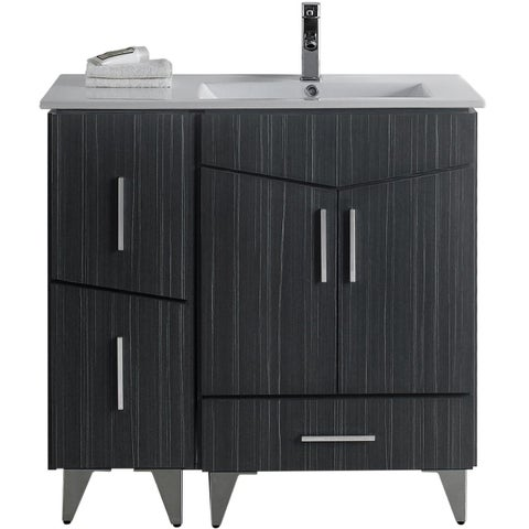 36-in. W x 17-in. D Modern Plywood-Melamine Vanity Base Set Only In Dawn Grey