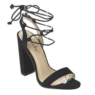 Machi IB62 Women's Lace Tie Wrapped Chunky Heel Dress Sandals