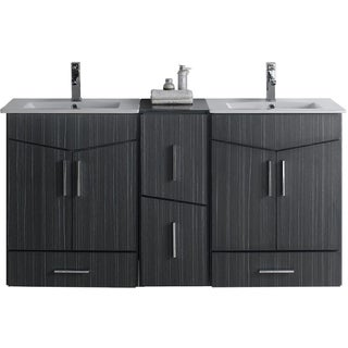 60-in. W x 17-in. D Modern Wall Mount Plywood-Melamine Vanity Base Set Only In Dawn Grey