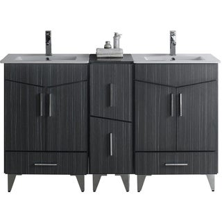 60-in. W x 17-in. D Modern Plywood-Melamine Vanity Base Set Only In Dawn Grey