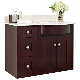 36-in. W x 22-in. D Transitional Wall Mount Cherry Wood-Veneer Vanity Base Set Only In Coffee