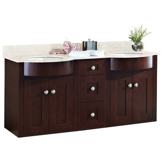 60-in. W x 22-in. D Transitional Wall Mount Cherry Wood-Veneer Vanity Base Set Only In Coffee