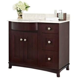 36-in. W x 22-in. D Transitional Cherry Wood-Veneer Vanity Base Set Only In Coffee