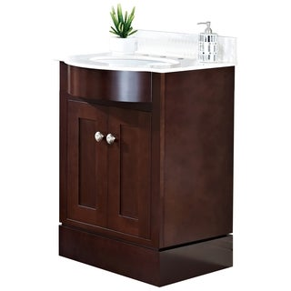 24-in. W x 22-in. D Transitional Cherry Wood-Veneer Vanity Base Set Only In Coffee