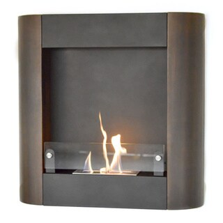 Nu-Flame Focolare Muro Noce Dark Walnut Metal Wall-mount Fireplace