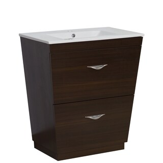 28-in. W x 18.5-in. D Plywood-Melamine Vanity Set In Wenge
