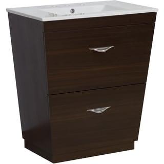 28-in. W x 18.5-in. D Plywood-Melamine Vanity Set In Wenge
