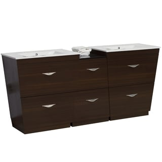 61.5-in. W x 18.5-in. D Plywood-Melamine Vanity Set In Wenge