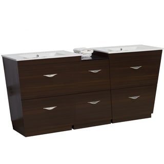 67.5-in. W x 18.5-in. D Plywood-Melamine Vanity Set In Wenge